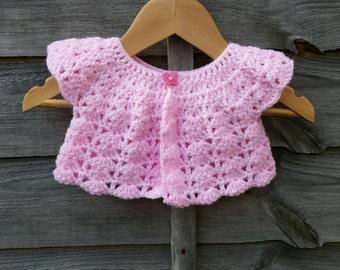 Baby Girls Pink Crocheted Bolero Shrug Cardigan 0-6 months