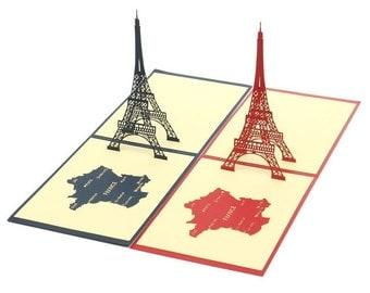 3D France Paris eiffel tower 3D Pop Up Card