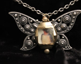 Steam Punk Butterfly Collage Pendant