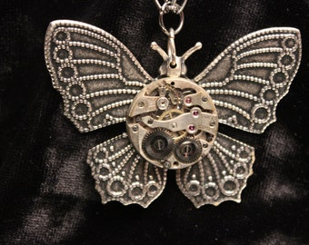 Medium Steampunk Butterfly Necklace and Pendant