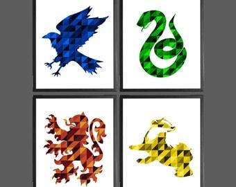 Harry Potter Modern Art Prints - Set of 4