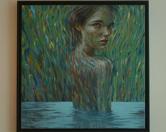 WATER NYMPH, Original oil painting, oil on canvas,