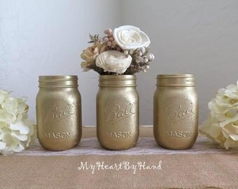 Gold Glitter Mason Jar Set, Wedding Centerpiece, Bridal Shower, Baby Shower, Holiday Decor, Mason Jar Decor, 50th Wedding Anniversary