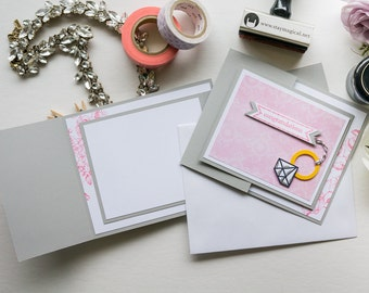Pink & Gray Diamond Ring Trifold Card, Stampin Up Handmade Greeting Card