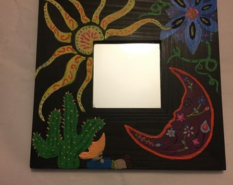 Square frame with small mirror