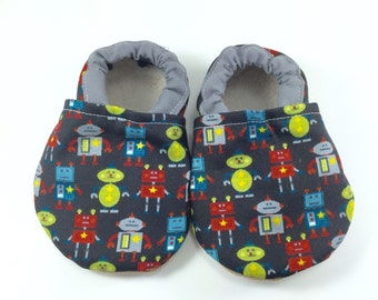 Robot baby shoes boy baby booties soft sole shoes boy toddler shoes crib shoes robot baby clothes boy baby shower gift gray baby shoes