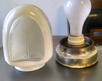 Vintage Art Deco Style White Glass Wall Sconce