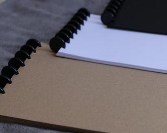 A4 Discbound Notepad - Kraft, White or Black Paper