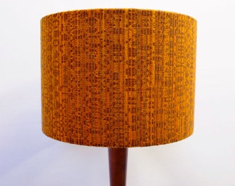 Retro Lampshade, Original 60s/70s German Fabric, Drum 30cm, Orange, Brown, Boho, Vintage