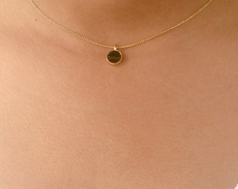 Black Marble Coin Necklace, Marble Necklace, Circle Necklace, Simple Gold Necklace