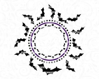 halloween monogram svg - bat monogram svg  - bat svg - bat clipart - halloween clipart  - clip art - Zemma Designs