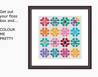 COLOUR ME PRETTY cross stitch pattern - Instant download pdf - Cross stitch chart, modern cross stitch -