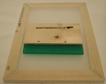 Hunt The Moon - Value Screen Printing Kit - A4 Frame & Squeegee - Choose Mesh