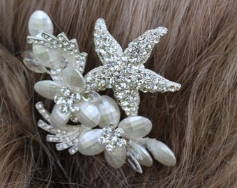 Rhinestone Starfish with Pearlized Flower Bridal Comb/ Beach Themed Comb