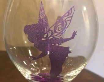 Tinker bell Disney Fairy Wine Glasses with a Glittered Stem