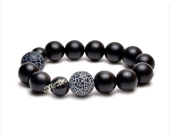 In Bracelet,Black 10mm Onyx Stone,12mm  Agate Gemstone Jewelry,Mala Yoga ,Beautiful Bracelet ,Onyx Beads  Gift,Spiritual Friendship Bracelet