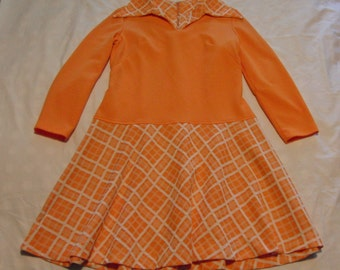 Vintage Late 60's Mod Long Sleeve Low Waist Dress sz. 16 Easy Care Poly Knit