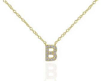 CZ Initial Necklace, Pavé Initial Necklace, Dainty Necklace, Tiny Initial Necklace