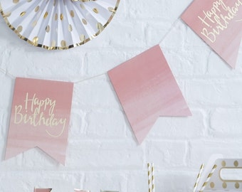 Gold Foiled & Ombre Happy Birthday Bunting - Pick And Mix