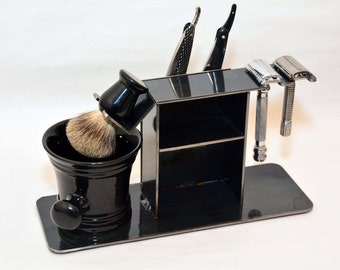 "Shaving Stand for Two Straight Razors, Two Double Edge / Safety Razor, Brush, Cup, and Accessories,  4"" base.  FREE SHIPPING!!!"