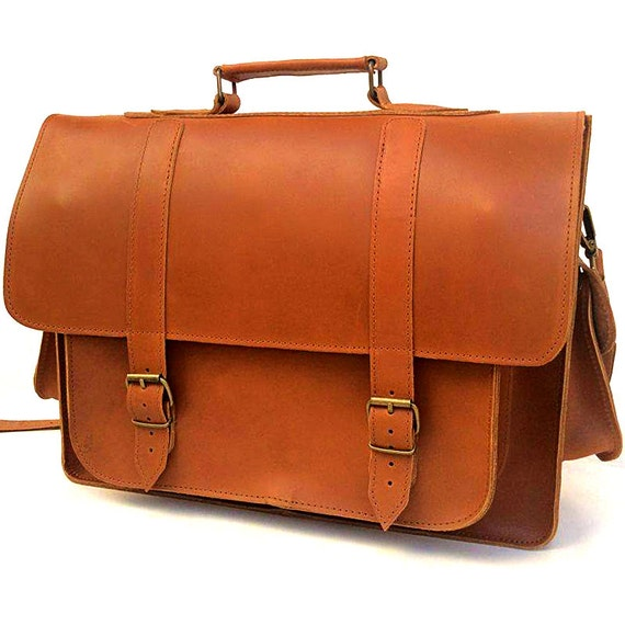 LEATHER MESSENGER BAG for 15 17 inch Laptop from 100% Full