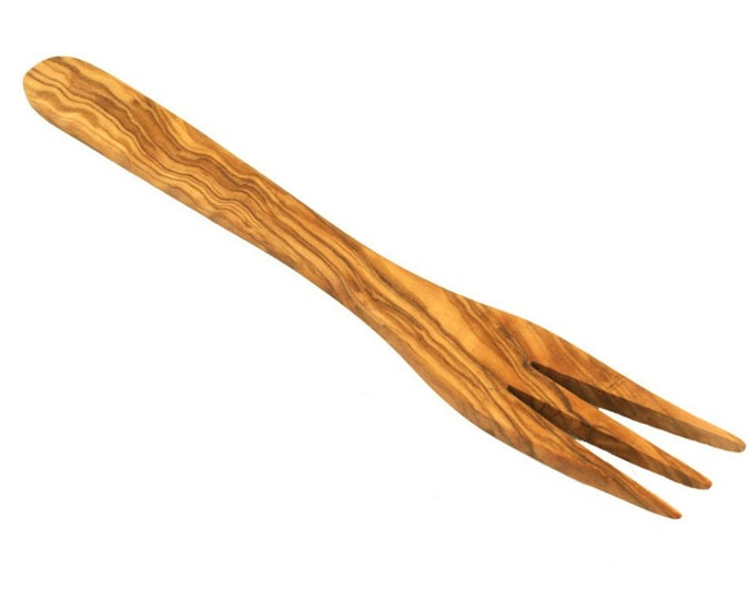 Fork unique olive wood ca 20 cm solid handcrafted rustic wood