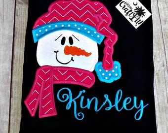 Girls Snowman Shirt, Girls Winter Shirt, Girls Christmas Shirt, Snowman,Toddlers Snowman Shirt, Infants,Personalized, Embroidered, Appliqued