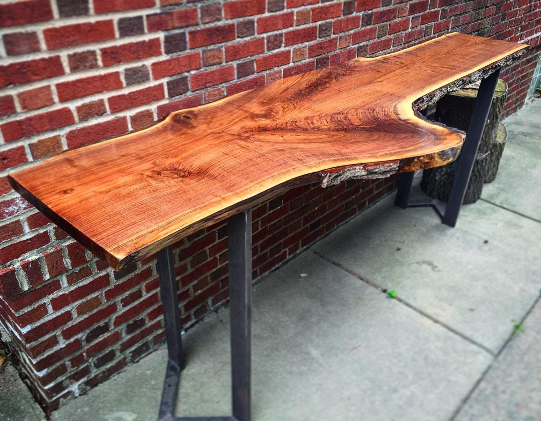 live edge bar top table rustic industrial wood sofa table. Black Bedroom Furniture Sets. Home Design Ideas