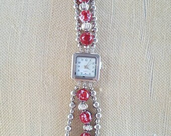 Red and Silver Beaded Watch