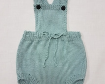 Hand-knitted bamboo cotton dk romper suit 6-12 months