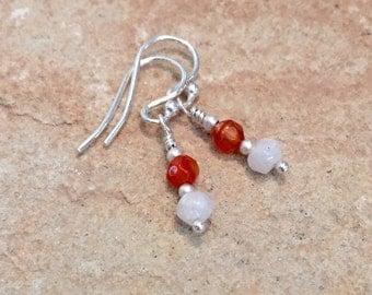 Orange and white drop earrings, agate earrings, sterling silver earrings, moonstone earrings, dangle earrings, sundance style earrings