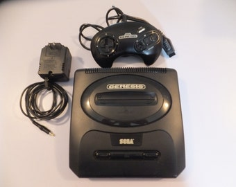 Vintage Sega Genesis 2 Video Game System Console with one controller and Adapter Missing TV connection