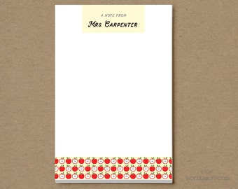 Personalized Teacher Notepad - A Note From - Apple Design - Gift for Teacher