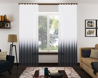 Custom Ripple Fold Sheer Drapery Panels. Black Ombré  Sheer Curtains. Blue and White Sheer Curtains. Golden Brown Sheer Curtains.