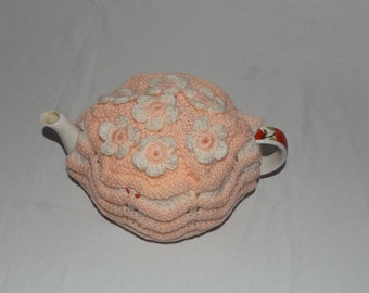 Tea Cosy,  Hand knitted Peach Zigzag Large Teapot Cover Cosy, 6 cup Teapot, Housewarming Gift, Mother's Day Gift, Birthday Gift,
