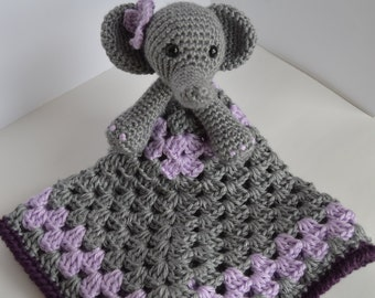crochet elephant lovey, crochet baby girl blanket, security blanket