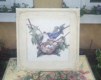 Shabby chic vintage bird with nest picture with distressed cream embellished frame