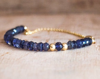 Iolite Bracelet, Water Sapphire Delicate Gemstone Jewellery, Dainty Gold Stacking Bracelet, Inky Violet Water Sapphire Jewelry Gift for Her