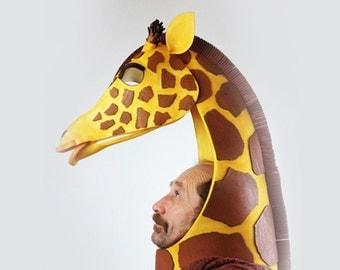 Giraffe Kopf Kostüm Masquerade Maske. High Style afrikanischen Viech! Handgefertigt. Tier freundlich Kopfschmuck. König der Löwen Maske. Tentakel-Studio.