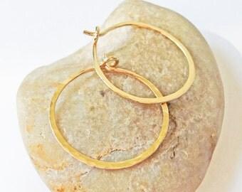 14K Gold Filled 18 Gauge Hoops, Hammered Gold Hoop Earrings, One Inch Hoops, Hand Forged Hoops, Gift for Her, Minimal Hoops