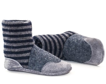 Baby Booties, Toddler Slipper Socks, Children Winter Shoes, Leather and Wool, Ooak, Eco- Friendly.  Sizes: 0-12M, 6-18M & 12-24M