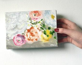 "Flower Painting Abstract Art Original 5x7"" Canvas"