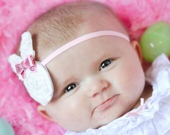 Easter Headband, White Bunny Headband, Spring Headband, Pink Bunny Headband, Newborn Photo Prop, Easter Bunny Photos, Baby Shower Gift