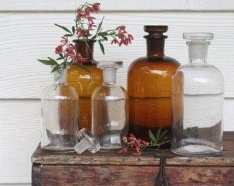 Apothecary Bottles Vintage Laboratory Industrial Decor Wedding Decor