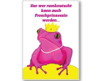 SALE Postkarte Nur wer rumknutscht kann auch Froschprinzessin werden - SALE - Angebot Frosch pink Frösche Froschkönig Bild