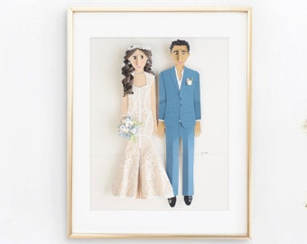 One Year Paper Anniversary Gift, Custom  Portrait, Custom Couple Portrait, Great Gift for Her, Custom Paper Portrait, 1st anniversary