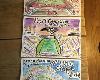 North Carolina football stadium prints