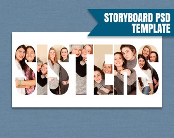 Sisters Photoshop Storyboard Template, Sisters Story board psd file, Collage Template, photographer moodboard, photography template, instant