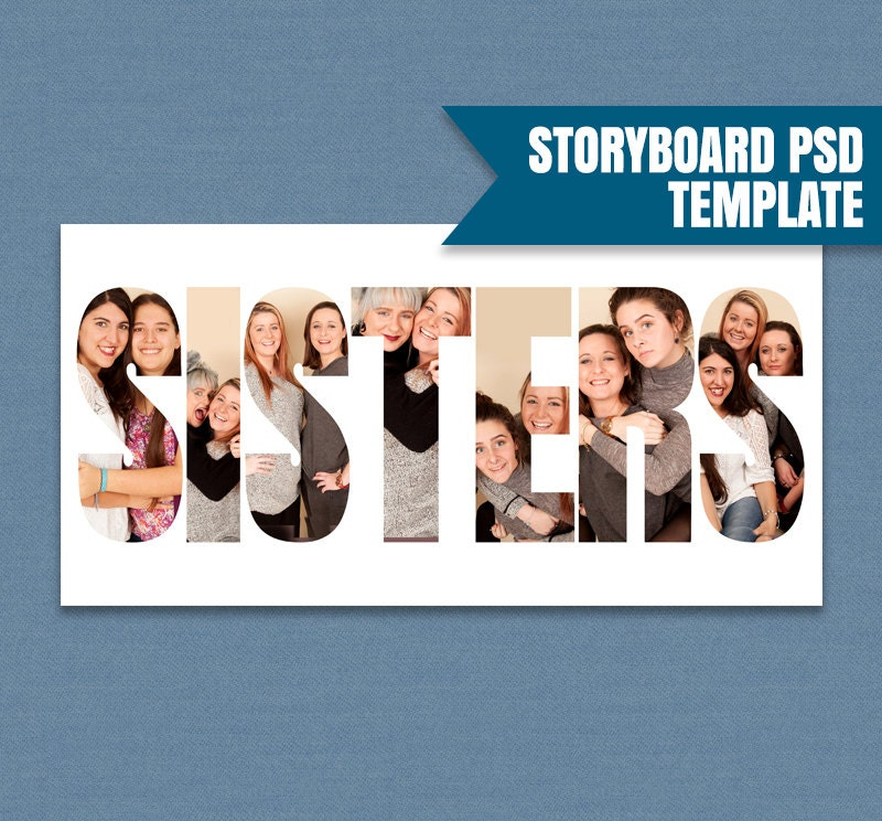 Sisters Photoshop Storyboard Template, Sisters Story Board Psd