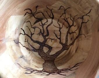 Wood burned Tree Bowl